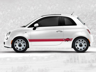 2013 Fiat 500-Pop NCAA Bodyside Graphic - Arkansas 82214150